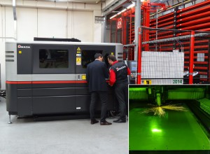 The fibre laser FOL AJ by Amada installed at Agardi S.r.l. in Crema. In the box, a detail of a machining.
