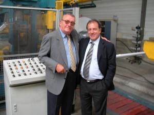 J.P. Robert together with Ezio Rinaldo Ribolzi, owner of Euroslitter at Dolzago (LC).
