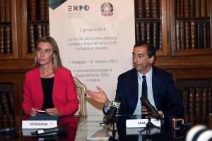 Italian Foreign Minister Federica Mogherini and Milan with Expo Commissioner Giuseppe Sala.