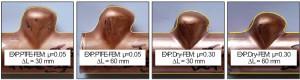 Tube final profiles. FEM and Experimental comparison for a semi-free bulging.