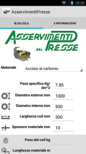 Available for both Android and iOs systems, Coil Weight Calculator allows obtaining rapidly the coil weight and the material length