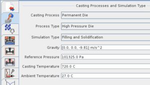 User Interface designed for the casting process