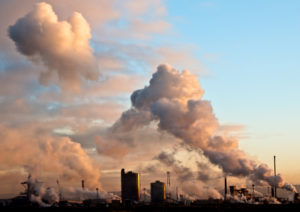 steel foundry in Redcar clouds billowing