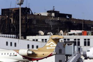 epa04369791 The damaged main building of Tripoli International Airport in Libya, 26 August 2014, after fighters from the Fajr Libya (Libyan Dawn) coalition reportedly captured the airport from Zintan forces. Western countries and North African states called for calm in Libya amid a violent power struggle in parts of the country, and reports that Egypt and the United Arab Emirates had carried out airstrikes on Islamist-allied militias. EPA/STR