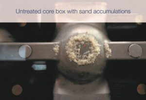 : Untreated core box shows sand accumulations in contrast to the core box treated with ECOPART FR 54 N.